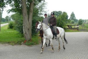 Foto van paarden buitenrijden
